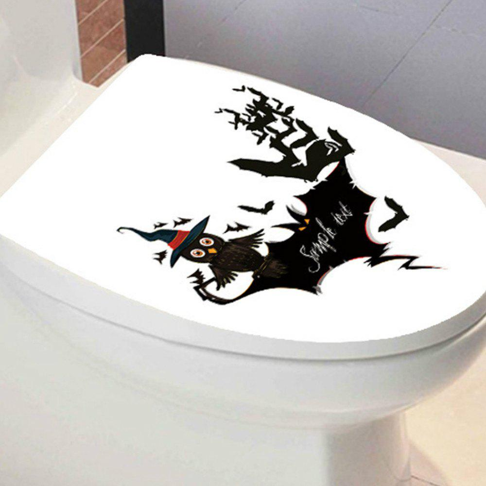 Toilet Seat Wall Sticker Bathroom WC Black Personality Stickers - BLACK