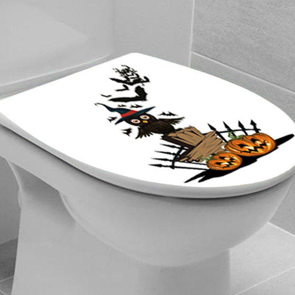 Toilet Seat Wall Sticker Bathroom WC Black Personality Stickers - YELLOW