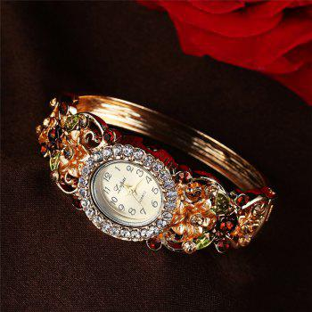 Lvpai P078 Women Rhinestones Bangle Bracelet Wrist Watch with Flowers - GOLD
