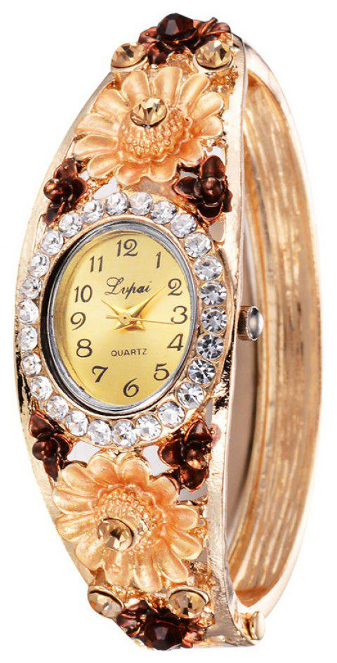Lvpai P059 Women Metal Flower Bangle Bracelet Watch - GOLD