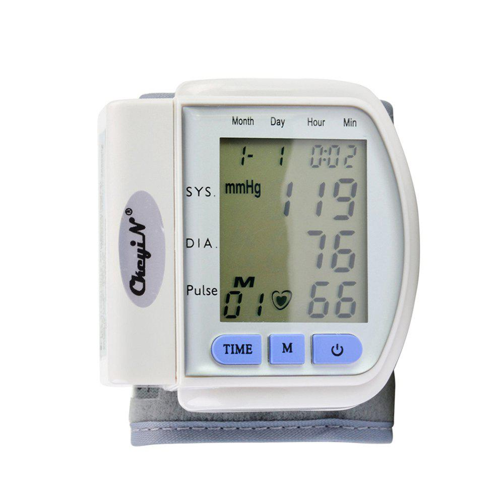 CkeyiN LCD Display Home Automatic Digital Wrist Cuff Blood Pressure Monitor Heart Beat Meter - WHITE