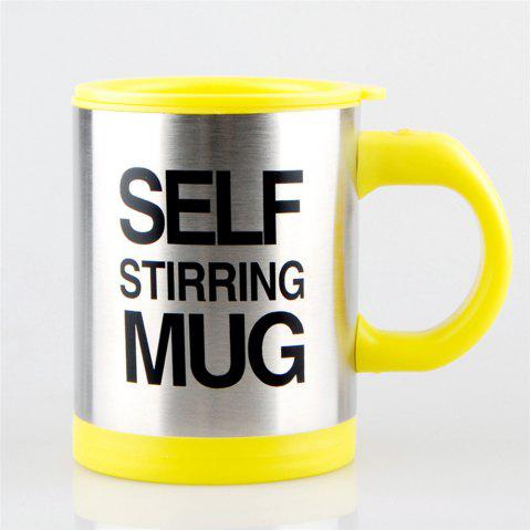 Letter Print Heat Retaining Electric Auto Stirring Coffee Cup - YELLOW