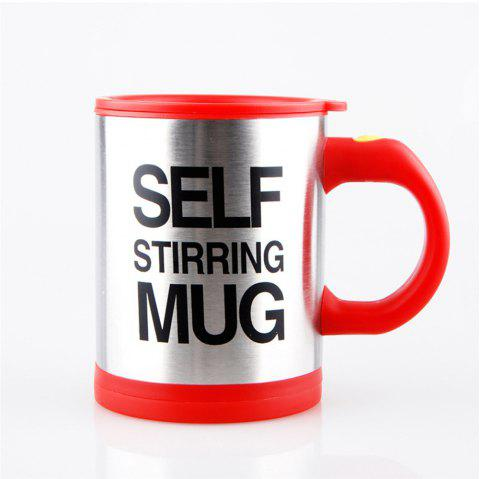 Letter Print Heat Retaining Electric Auto Stirring Coffee Cup - RED