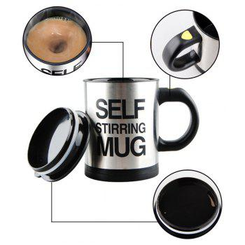 Letter Print Heat Retaining Electric Auto Stirring Coffee Cup - BLACK