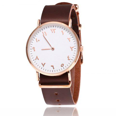 V5 Fashion Ultra-thin Leather Business Quartz Watch - BROWN BAND WHITE DIAL