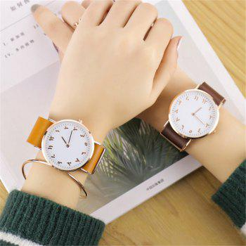 V5 Fashion Ultra-thin Leather Business Quartz Watch - LIGHT COFFEE