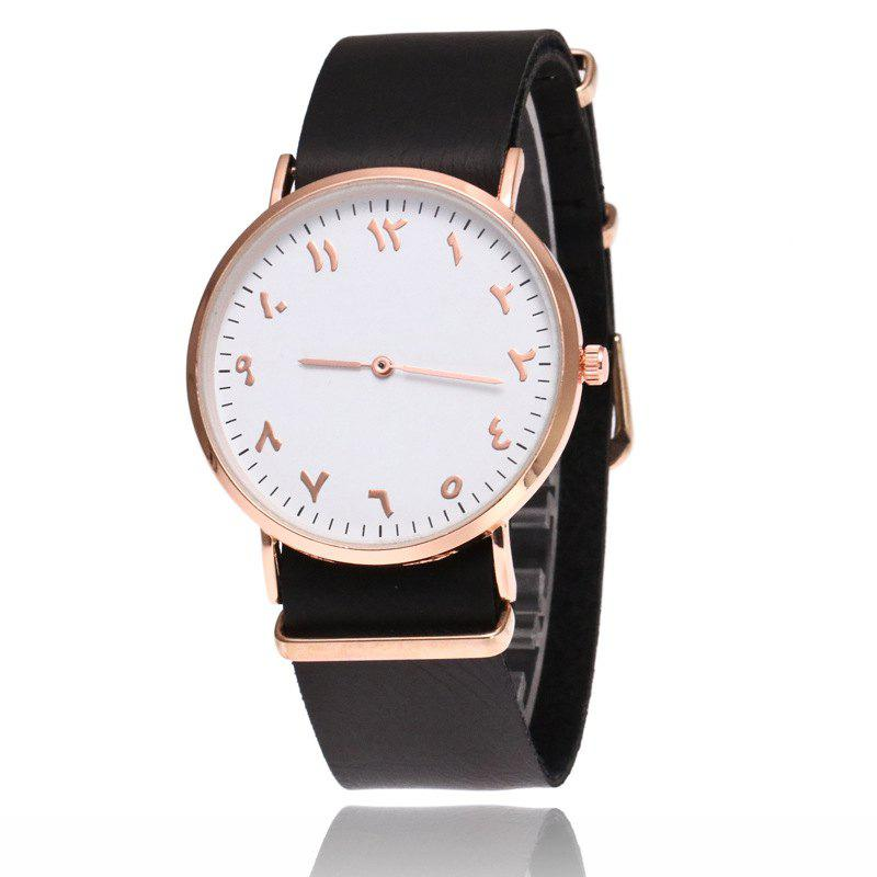 V5 Fashion Ultra-thin Leather Business Quartz Watch - BLACK BAND WHITE DIAL