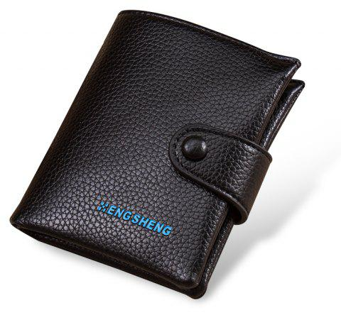 Men's Buttons Short Original Leather Wallet Soft Vertical Section - BLACK