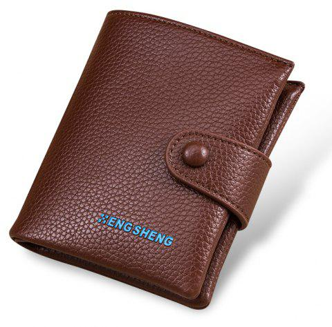 Boutons pour hommes Short Original Leather Wallet Soft Vertical Section - Café