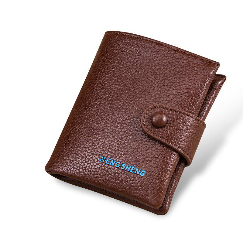 Men's Buttons Short Original Leather Wallet Soft Vertical Section - COFFEE