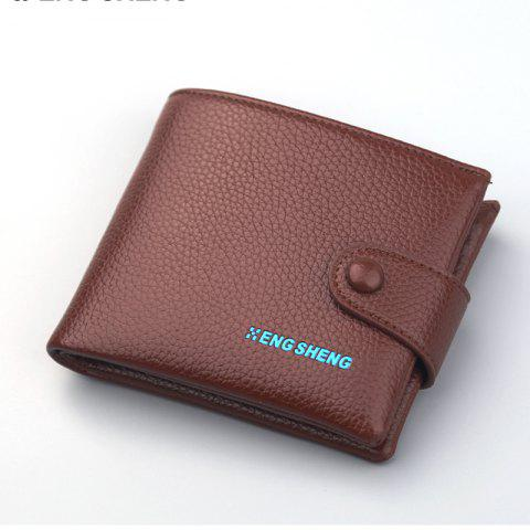 Men's Buttons Short Original Leather Wallet Soft Cross Section - COFFEE