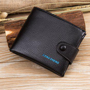 Men's Buttons Short Original Leather Wallet Soft Cross Section - BLACK