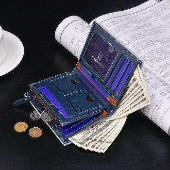 Multi-Card Purse Button Casual Hit Color Short Zipper Wallet Multi-Purpose - BLUE