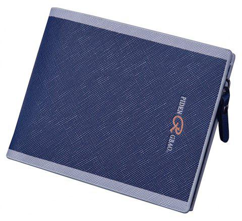 Men'S Cross-Section Multi-Card Purse Button Casual Hit Color Short Zipper Wallet Multi-Functional - BLUE