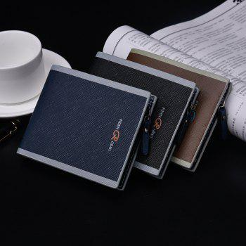 Men'S Cross-Section Multi-Card Purse Button Casual Hit Color Short Zipper Wallet Multi-Functional - COFFEE