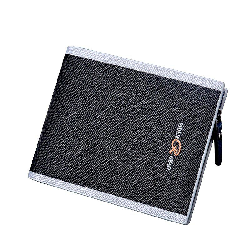 Men'S Cross-Section Multi-Card Purse Button Casual Hit Color Short Zipper Wallet Multi-Functional - BLACK