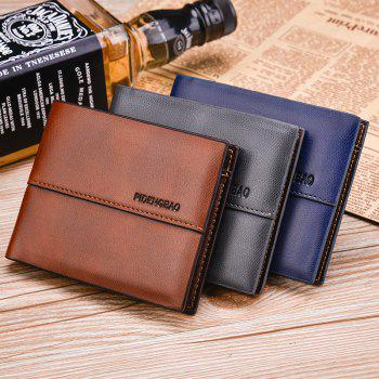 Men's Wallet Short Smooth Pattern Europe and The United States New Soft Multi-Card Cross-Section Ticket Holder - BLUE