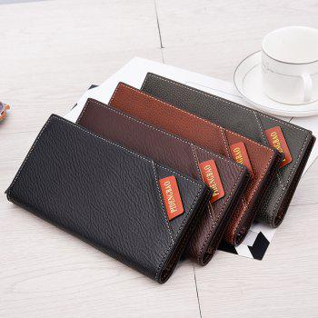 New Men's Long Wallet Fashion Casual Card Package - BLACK
