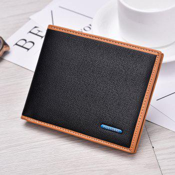 New Men's Short Wallet High-End Fashion Cross Section Multi-card Package - BLACK