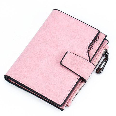 Women Short Wallet Button Multi-card Female Purse Frosted Zipper Bag - PINK