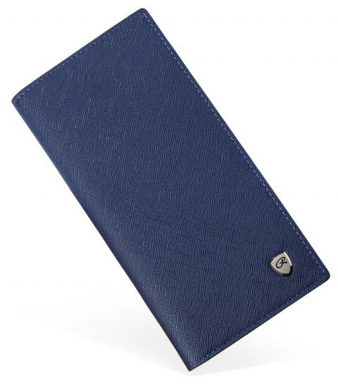 Men's Thin Section Long Wallet Fashion Students Clasp Card Package Cross-grain - BLUE