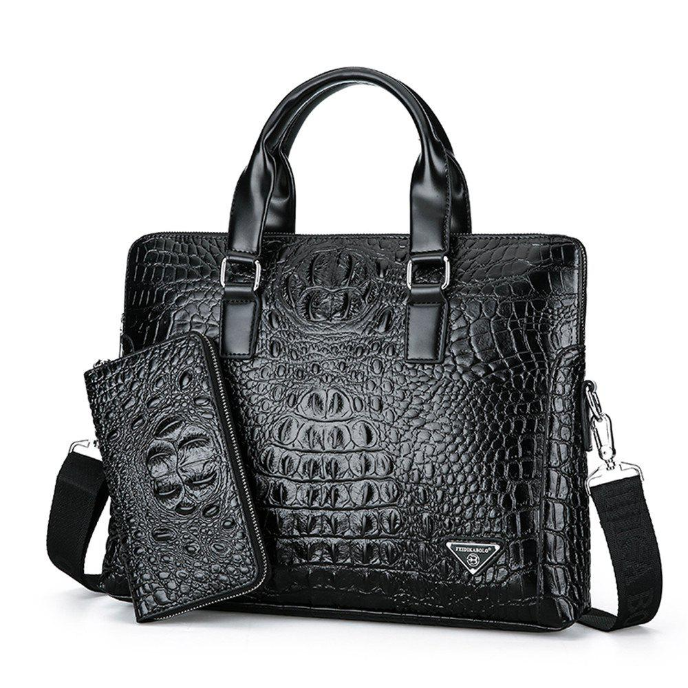 Crocodile Pattern Briefcase Male Business Handbag Cross Section Shoulder Messenger Bag - BLACK