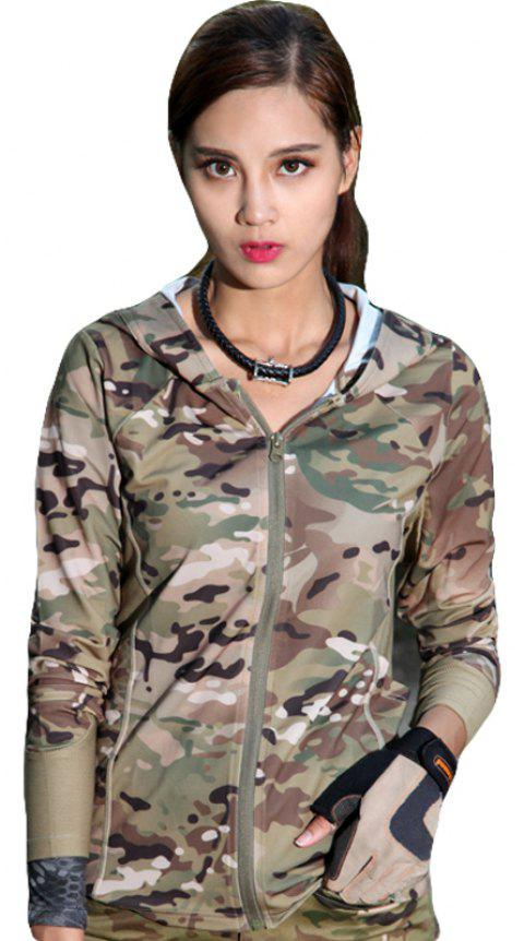Stretch Camouflage Breathable Quick-Drying Ladies Hooded Outdoor Sports and Leisure Long-Sleeved Coat - TERRAIN CAMOUFLAGE M