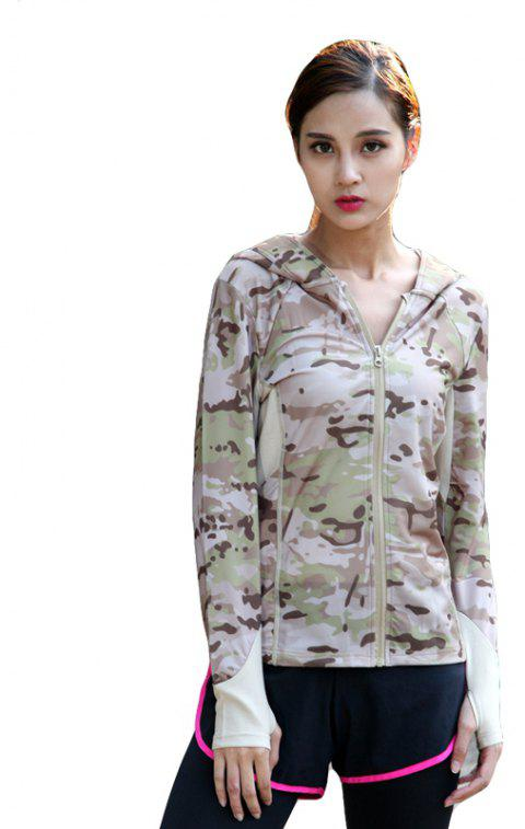 Stretch Camouflage Breathable Quick-Drying Ladies Hooded Outdoor Sports and Leisure Long-Sleeved Coat - DESERT CAMOUFLAGE L