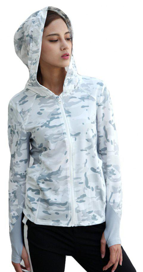 Stretch Camouflage Breathable Quick-Drying Ladies Hooded Outdoor Sports and Leisure Long-Sleeved Coat - SNOW LAND CAMOUFLAGE S
