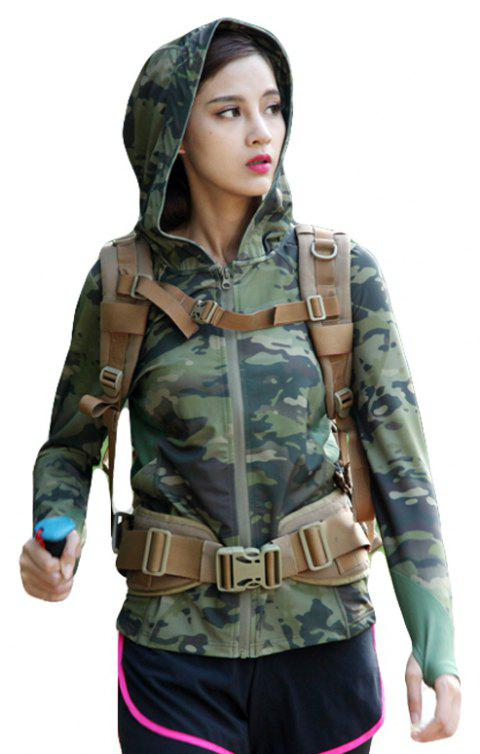 Stretch Camouflage Breathable Quick-Drying Ladies Hooded Outdoor Sports and Leisure Long-Sleeved Coat - JUNGLE CAMOUFLAGE L