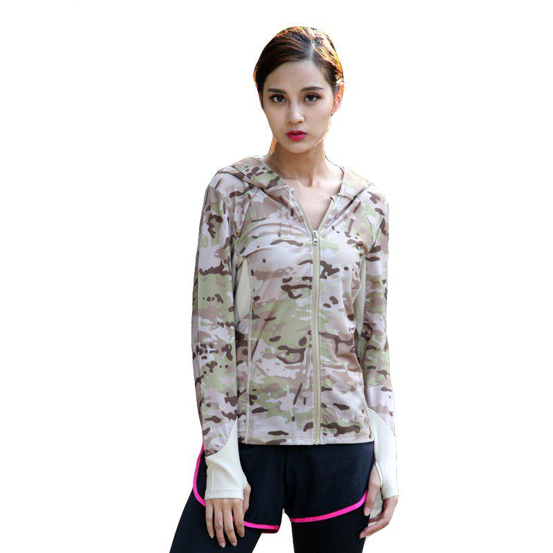 Stretch Camouflage Breathable Quick-Drying Ladies Hooded Outdoor Sports and Leisure Long-Sleeved Coat - DESERT CAMOUFLAGE M