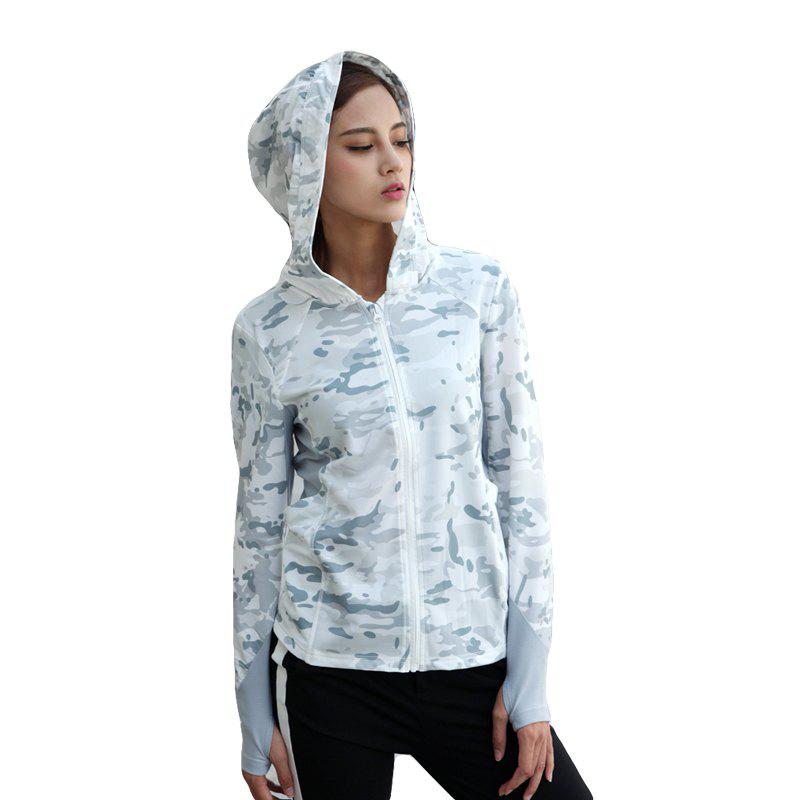 Stretch Camouflage Breathable Quick-Drying Ladies Hooded Outdoor Sports and Leisure Long-Sleeved Coat - SNOW LAND CAMOUFLAGE L