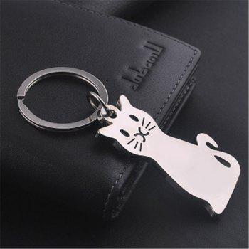 Exquisite Fashion Cat Metal Key Chain Buckle - SILVER