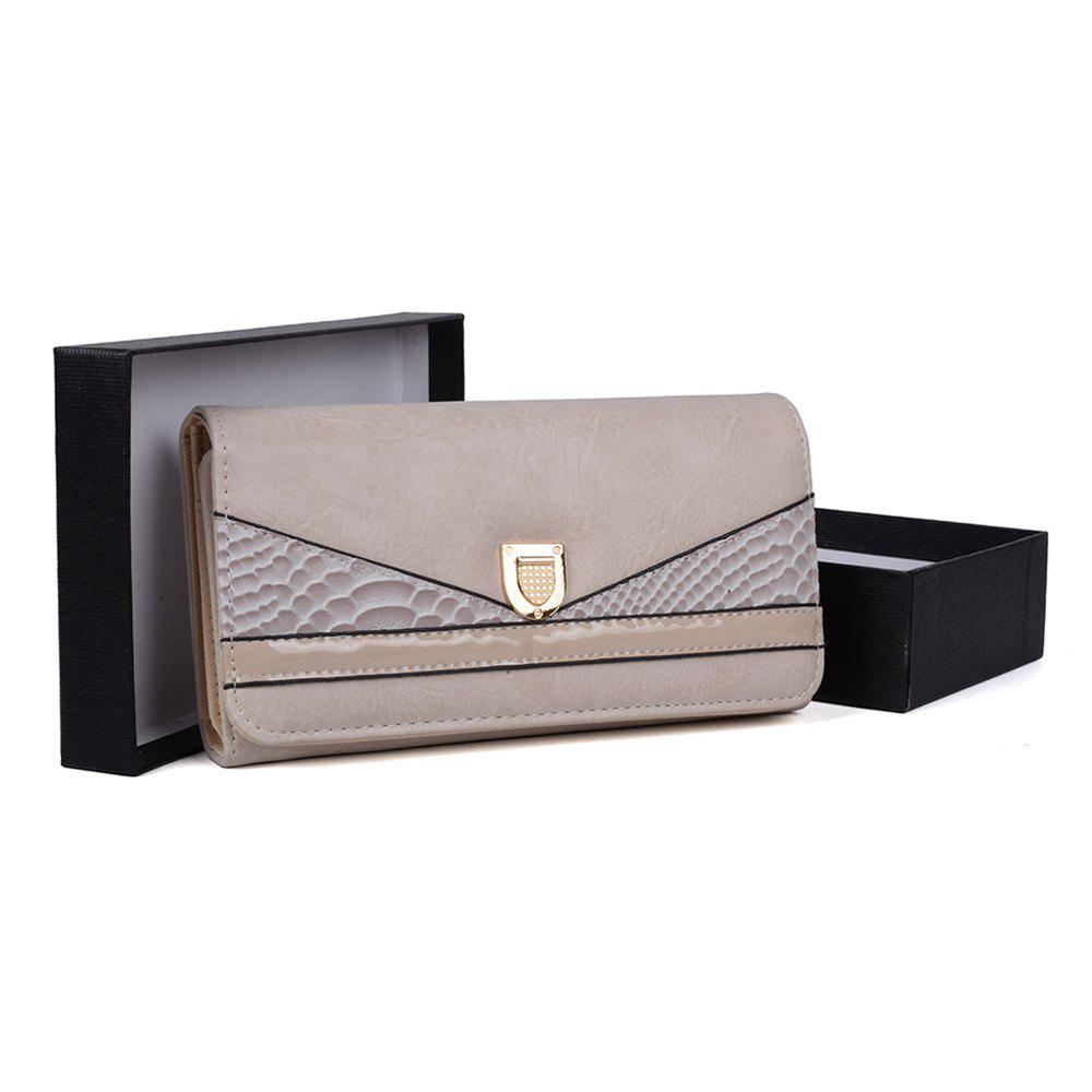 Women's Wallet Color Contrast Sneak Stria Stylish Ladylike Bag - BEIGE