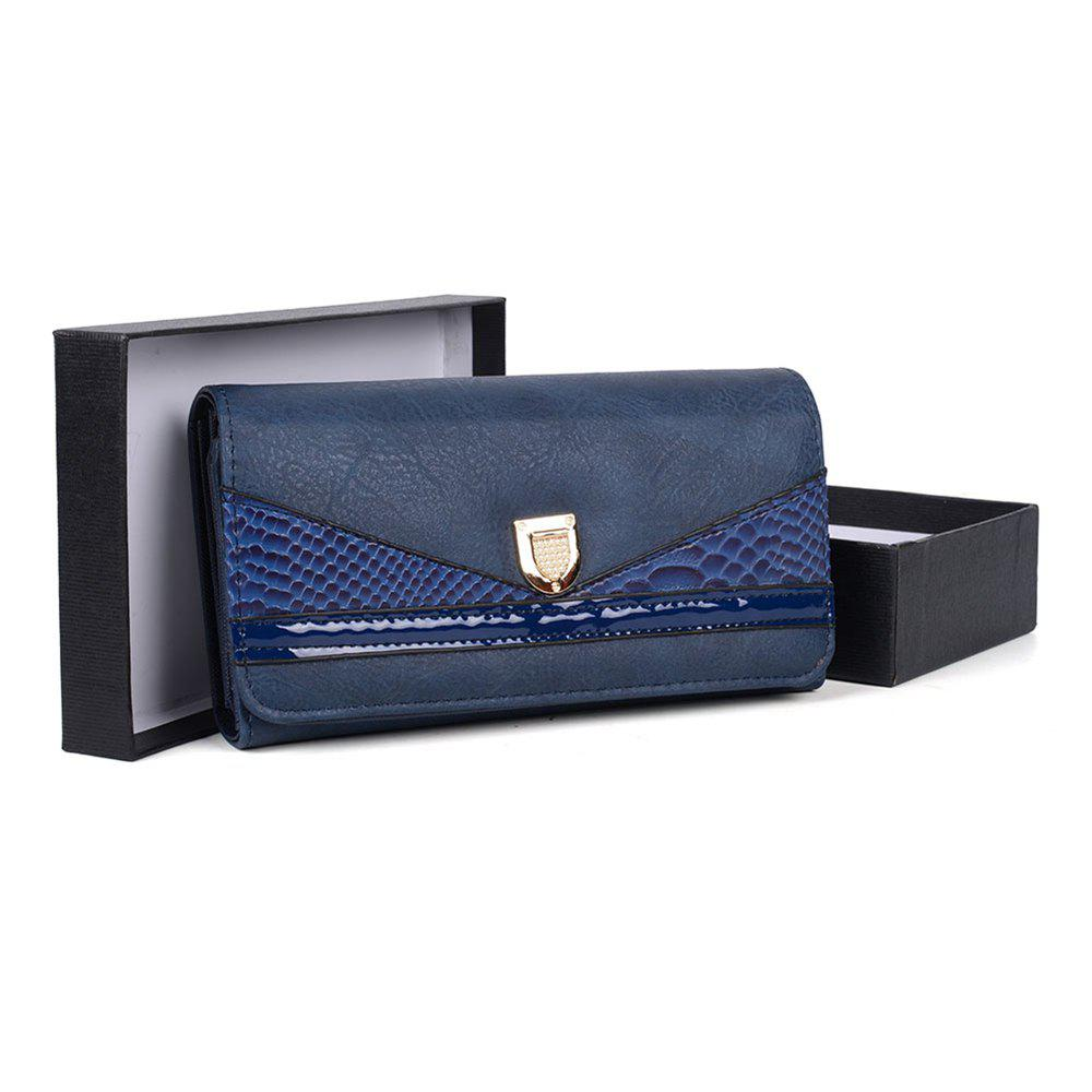 Women's Wallet Color Contrast Sneak Stria Stylish Ladylike Bag - BLUE