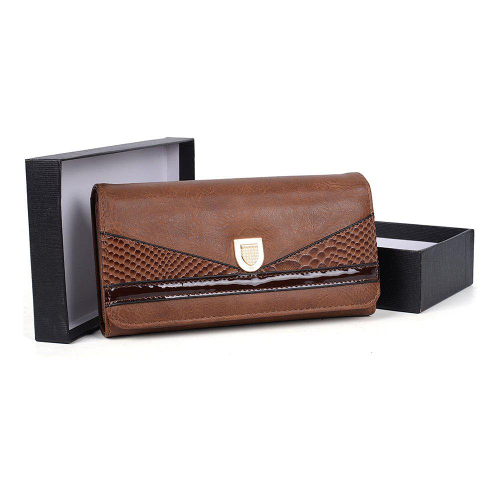 Women's Wallet Color Contrast Sneak Stria Stylish Ladylike Bag - COFFEE