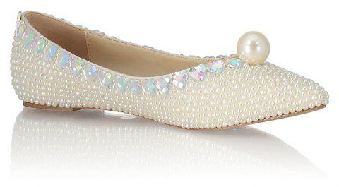 2018 Spring New Flat Bottomed White Pearl Single Shoes - WHITE 39