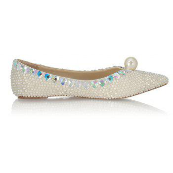 2018 Spring New Flat Bottomed White Pearl Single Shoes - WHITE 42