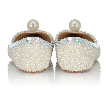 2018 Spring New Flat Bottomed White Pearl Single Shoes - WHITE 38
