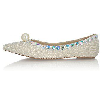 2018 Spring New Flat Bottomed White Pearl Single Shoes - WHITE 35