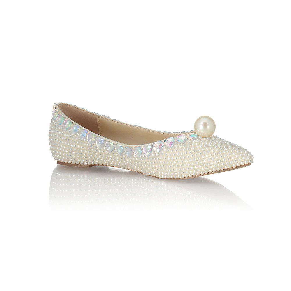 2018 Printemps New Flat Bottomed perle blanche unique chaussures - Blanc 35