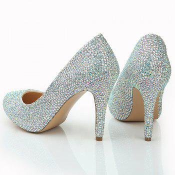 2018 New Color Drill Round Head High Heel Single Shoe - COLOR 35