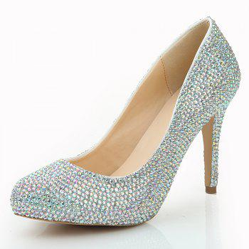 2018 New Color Drill Round Head High Heel Single Shoe - COLOR 36