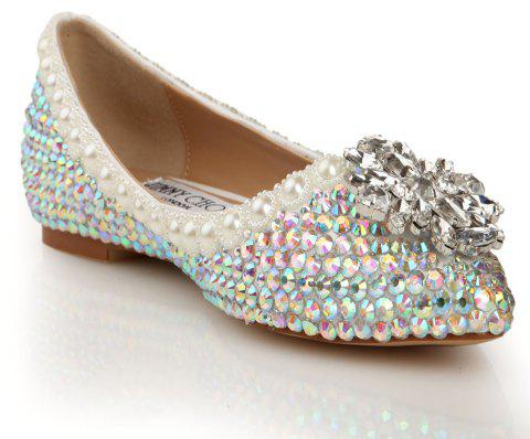 2018 New Colorful Diamond Flat Comfortable Shoes - COLOR 39