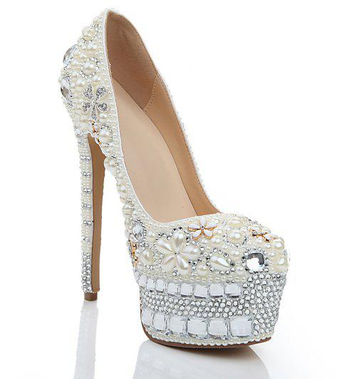 2018 New Pearl White Drill Round Head High Heels Banquet Shoes - PEARL WHITE 39