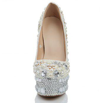 2018 New Pearl White Drill Round Head High Heels Banquet Shoes - PEARL WHITE 42