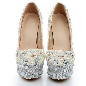 2018 New Pearl White Drill Round Head High Heels Banquet Shoes - PEARL WHITE 40