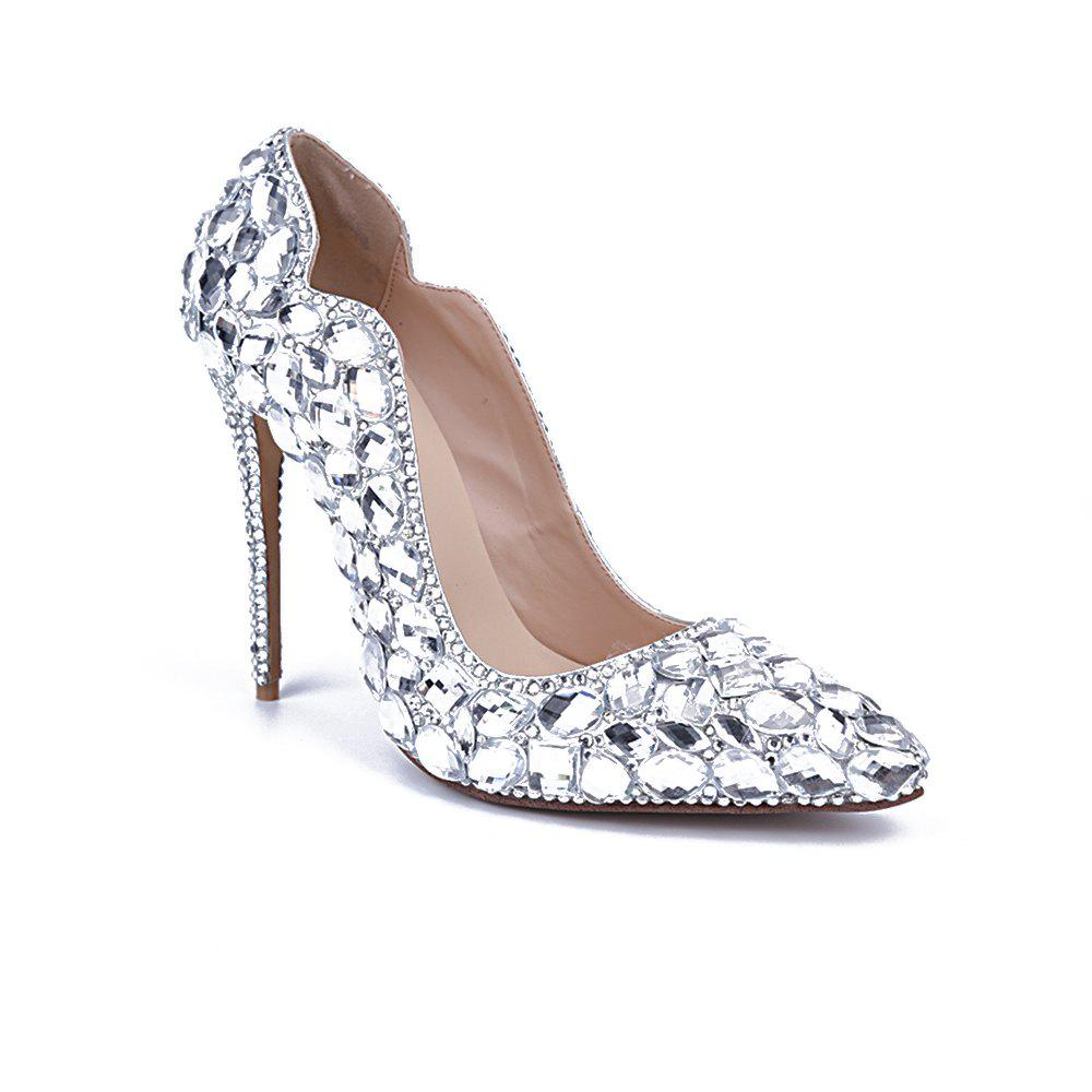 6ad2ab4d74 2018 New Simplified Glass Drill V Top Female High Heels – SILVER 37