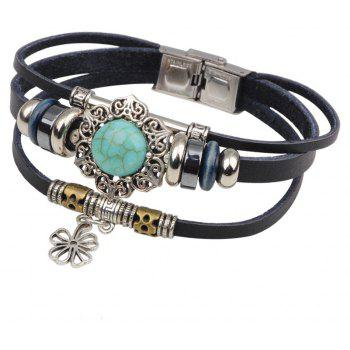 Beads Genuine Braided Leather Bracelets For  Women
