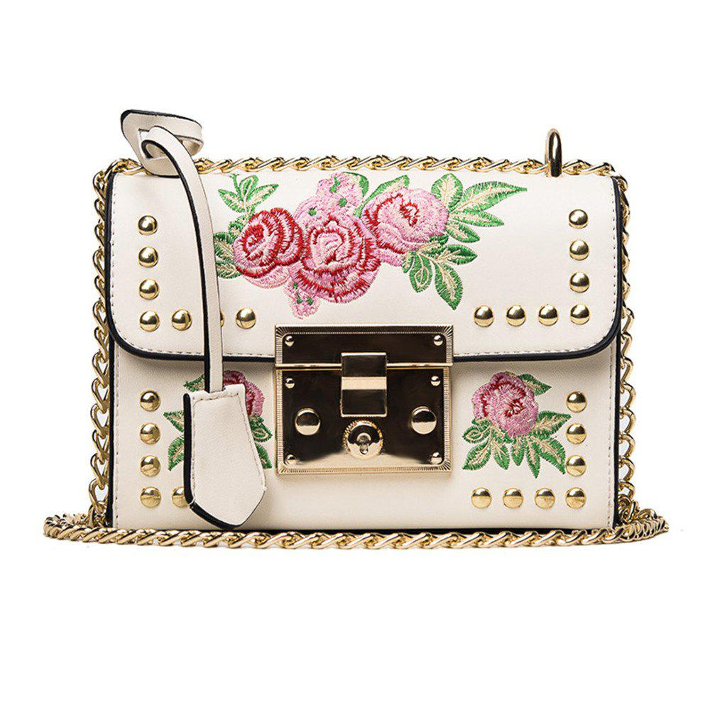 Women Embroidery Flower Shoulder Bag Designer PU Leather Fashion Ladies Rivet Messenger Bags zooler women chains flap genuine leather shoulder bag ladies fashion small snake pattern messenger bags female crossbody bag
